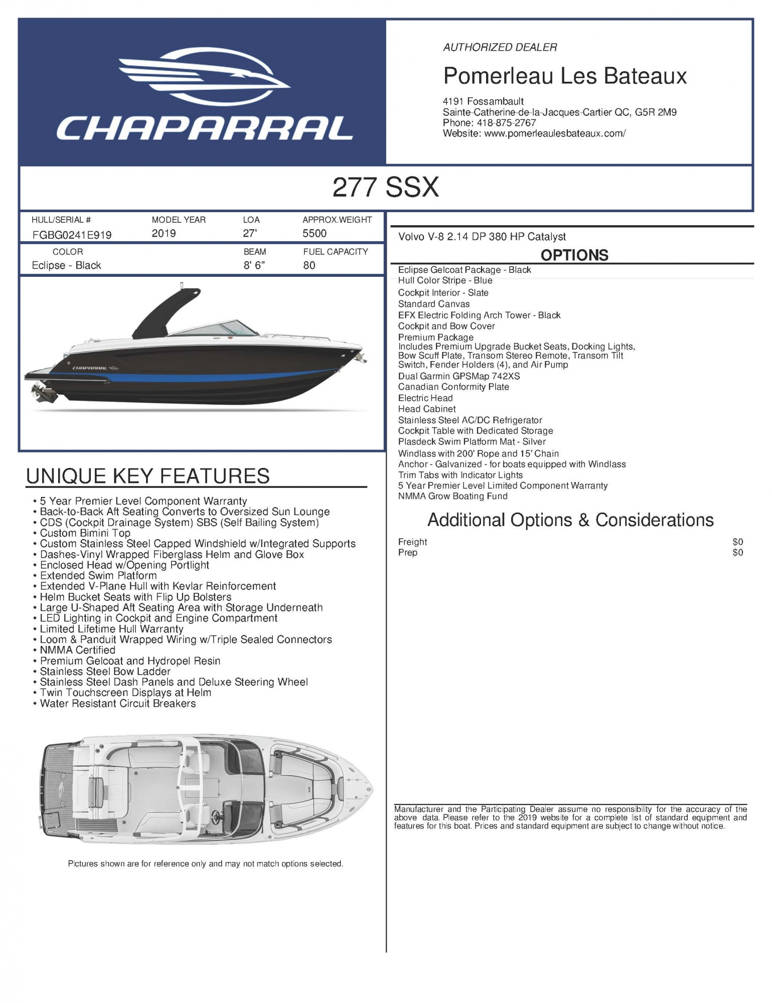 Chaparral SSX 277 - Chaparral-Boats-2019-277--Window-Sticker-268946