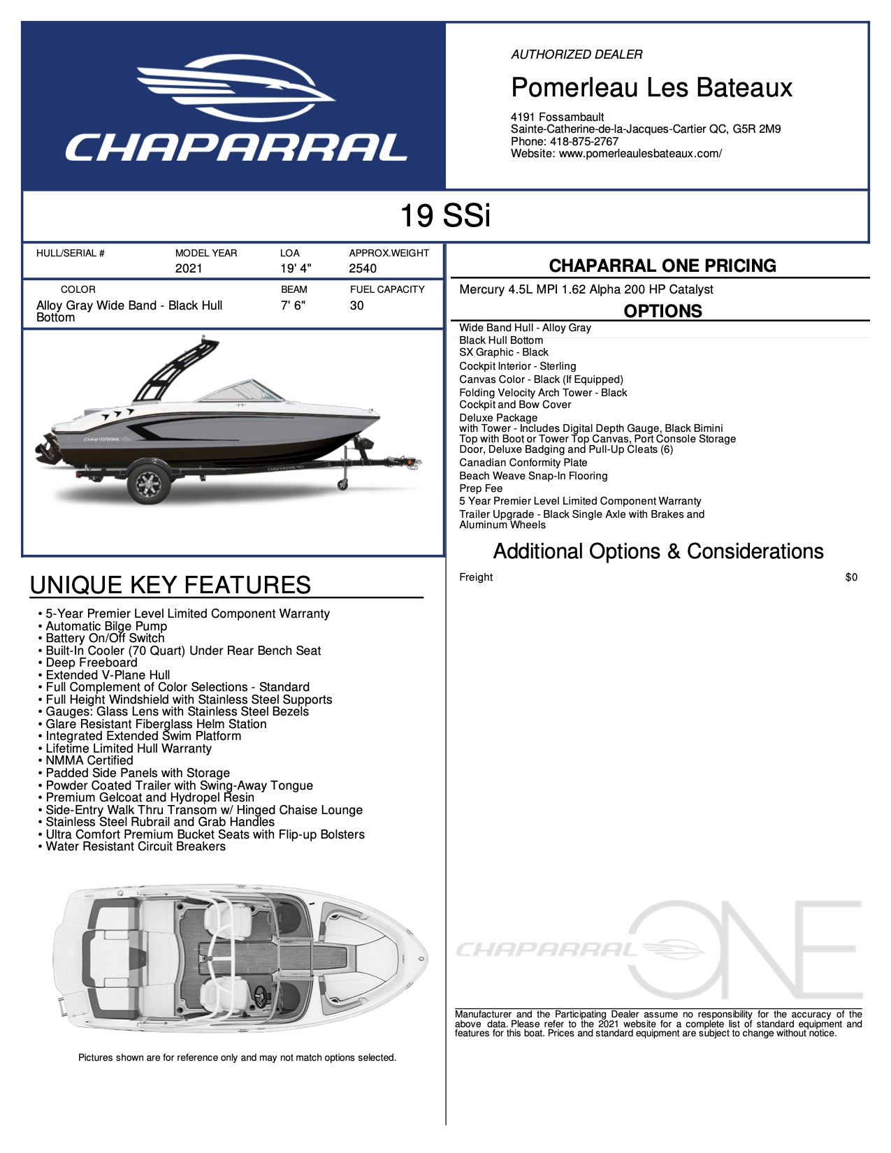 Chaparral 19 SSI - Chaparral-Boats-2021-19--Window-Sticker-305060
