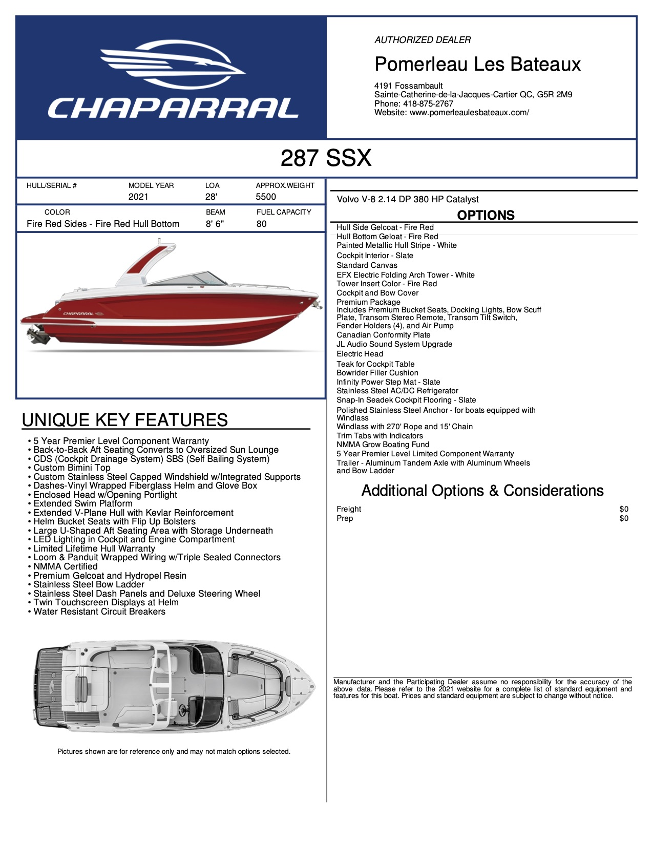 Chaparral 287 SSX - Chaparral-Boats-2021-287--Window-Sticker-301936