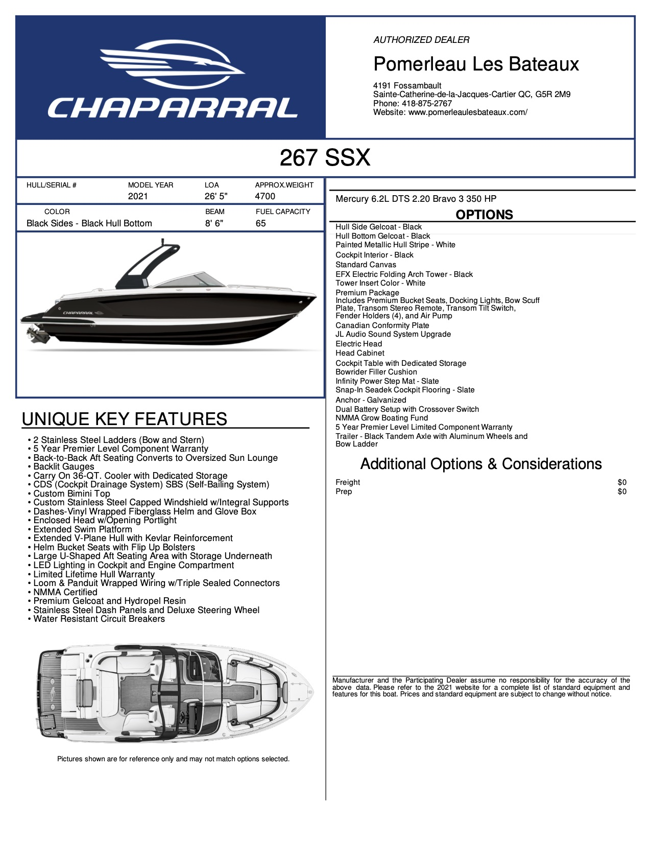 Chaparral 267 SSX - Chaparral-Boats-2021-267--Window-Sticker-301935