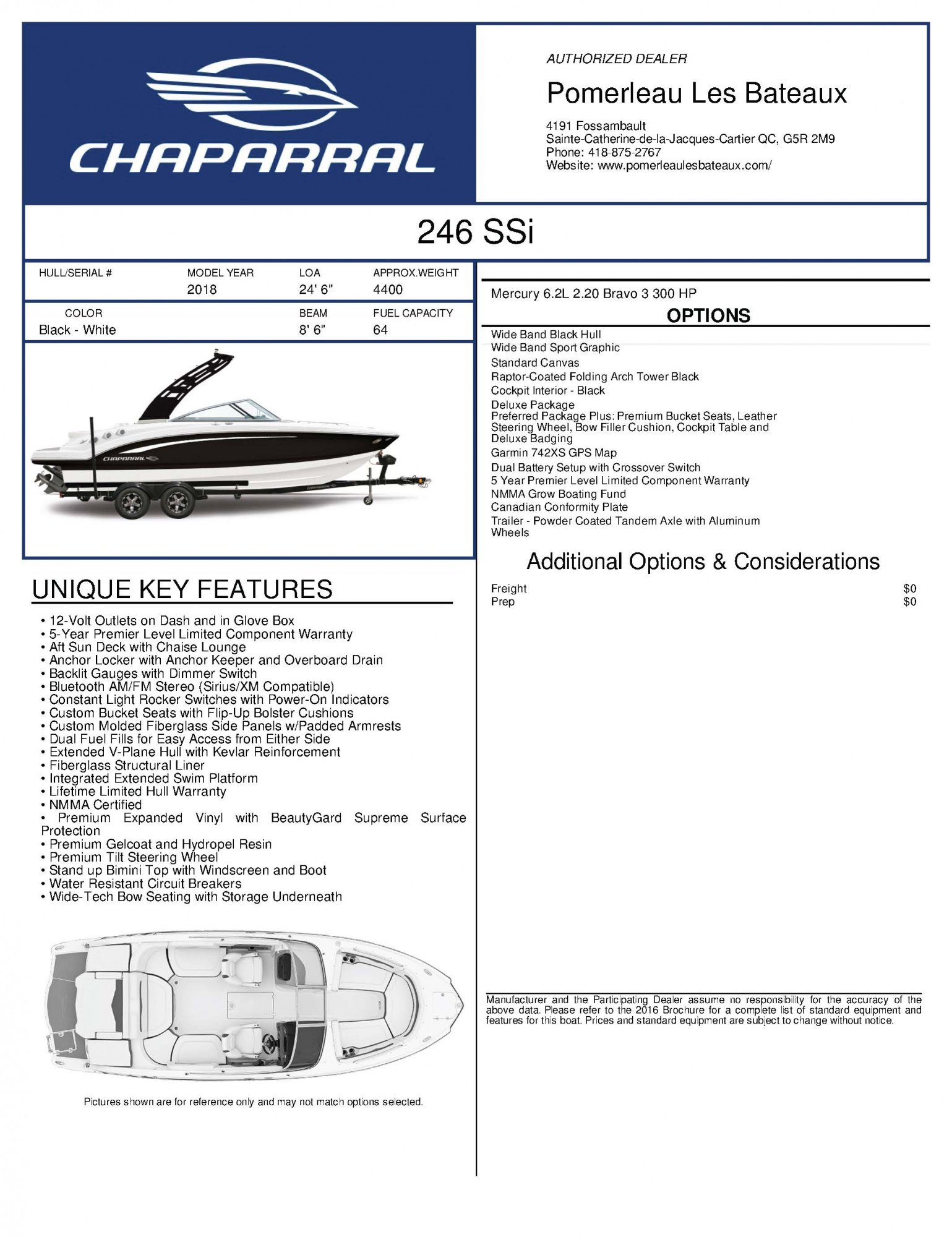 Chaparral 246 SSI - Chaparral-Boats-2018-246--Window-Sticker-246117