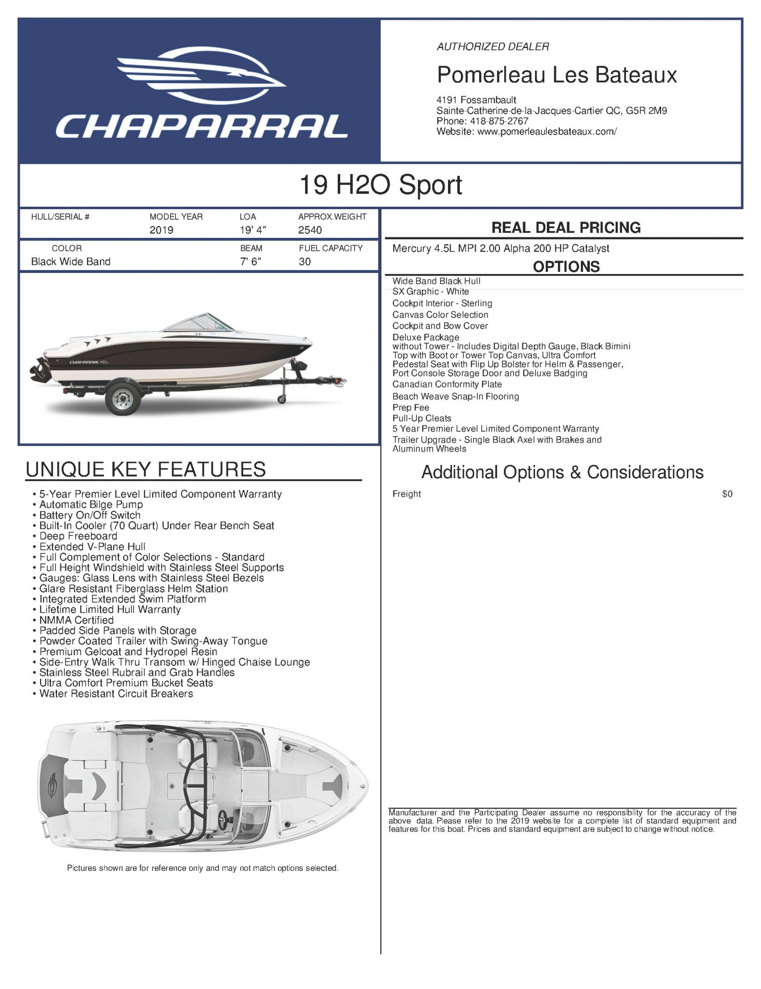 Chaparral H2O 19 - Chaparral-Boats-2019-19-Sport-Window-Sticker-272222