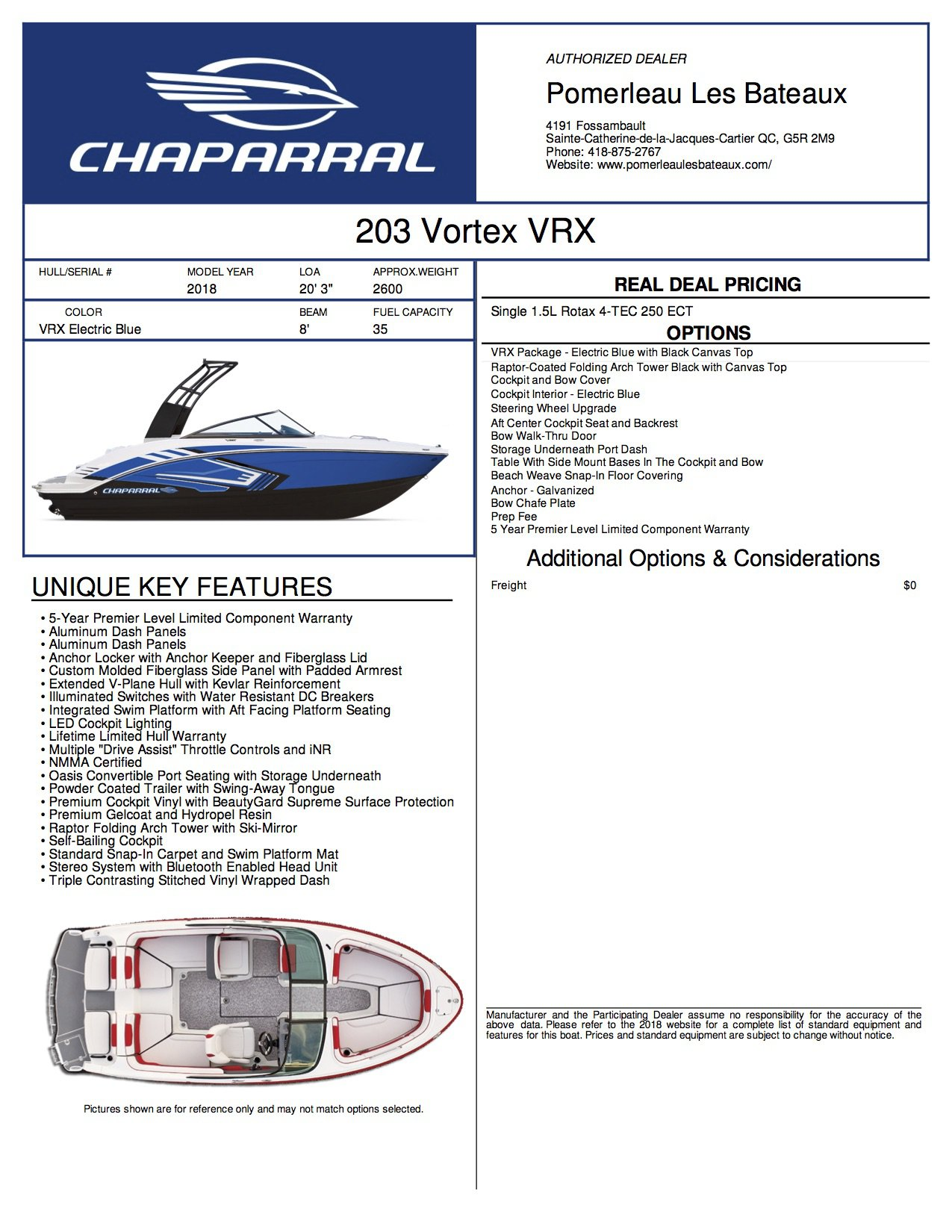 Chaparral 203 VRX - Vortex-2018-203--Window-Sticker-244174