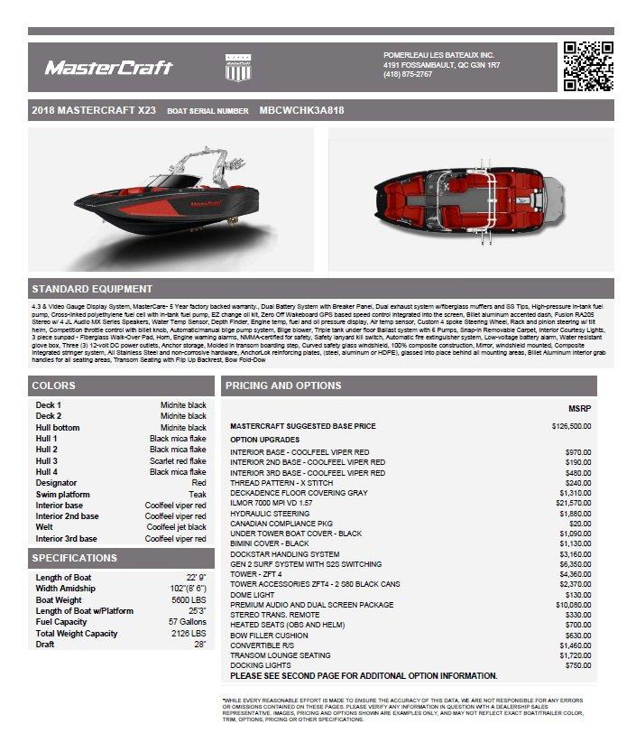 Mastercraft X23 - Fiche