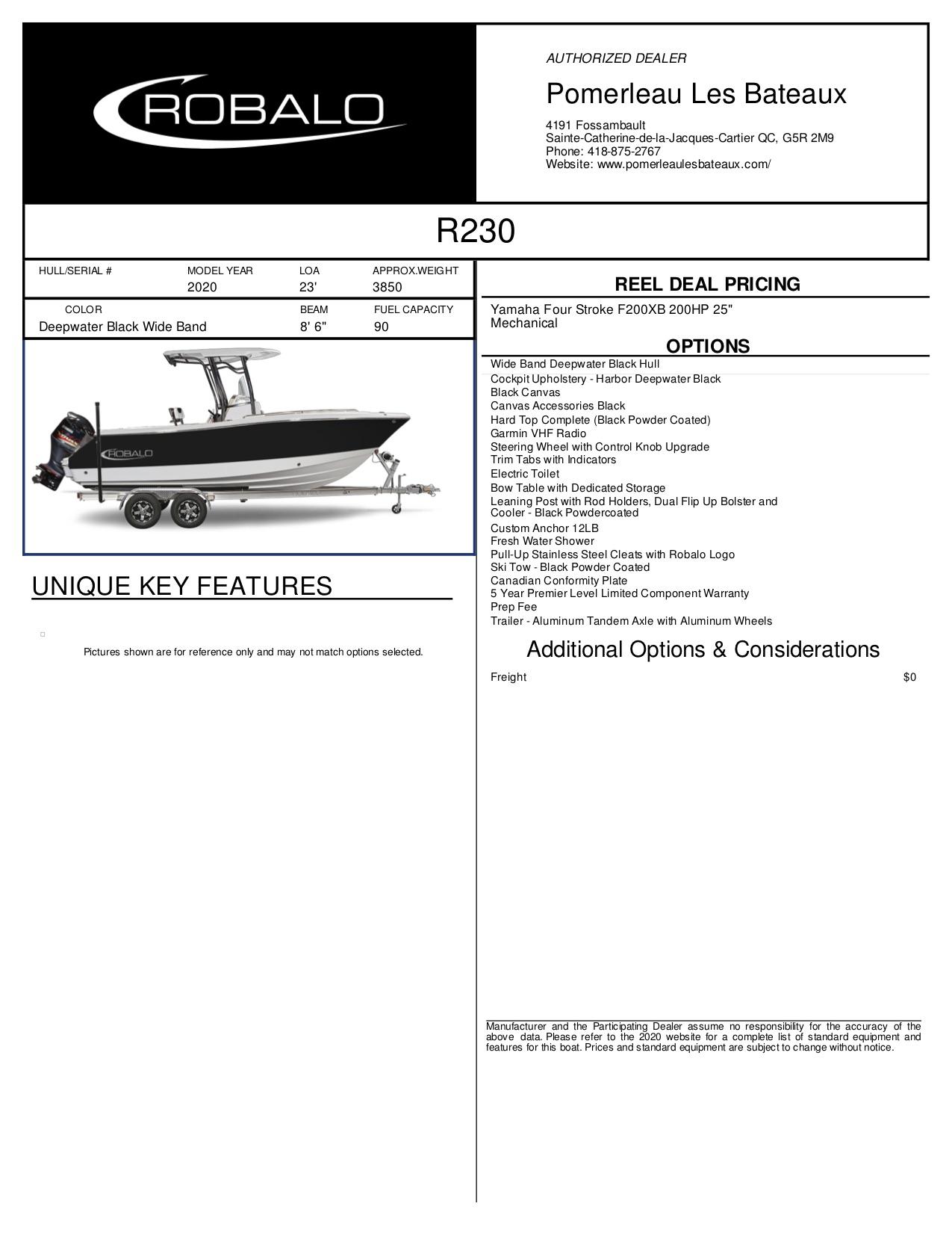 Robalo R230 - Robalo-2020-230--Window-Sticker-278944 (1)