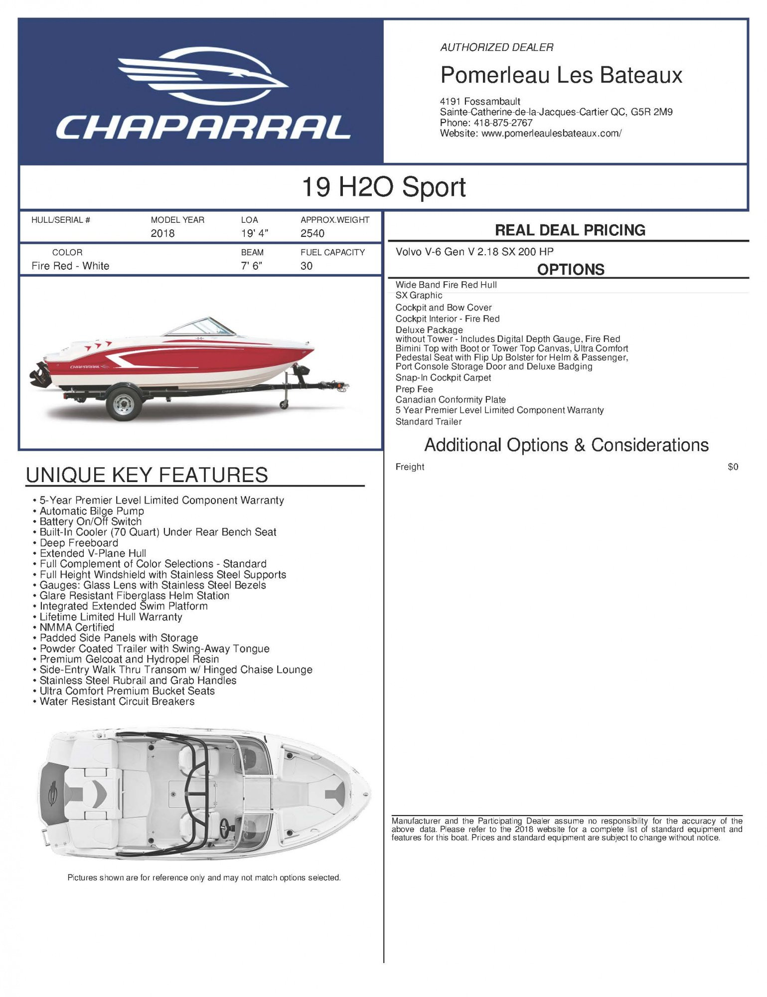 Chaparral H2O 19 - Chaparral-Boats-2018-19-Sport-Window-Sticker-247719